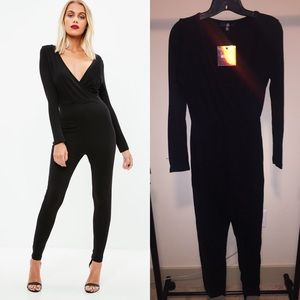 Missguided Black Soft Wrap Long Sleeve Jumpsuit 4
